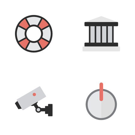 Vector Illustration Set Of Simple Criminal Icons. Elements Supervision, Safe, Lifesaver And Other Synonyms Court, Password And Lifeguard.