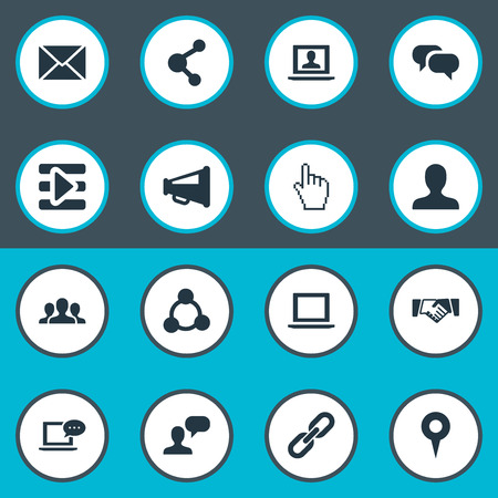 Vector Illustration Set Of Simple Internet Icons. Elements Cursor, Web User, Publish And Other Synonyms Mark, Point And Related. Ilustração