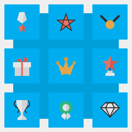 Vector Illustration Set Of Simple Champion Icons. Elements Reward, Present, Medal And Other Synonyms First, Goblet And Coronet.