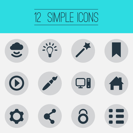 Vector Illustration Set Of Simple Web Icons. Elements Paintbrush, Publish, Play And Other Synonyms Privacy, Cloud And Brush. Illustration