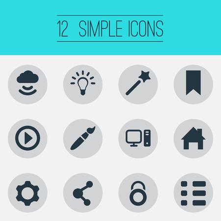 Vector illustratie Set van eenvoudige web iconen. Elementen Penseel, publiceren, spelen en andere synoniemen Privacy, Cloud en penseel.
