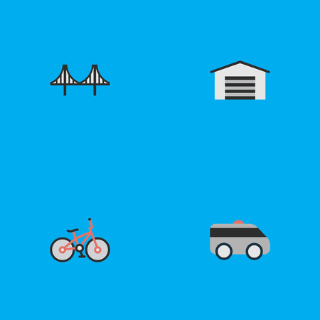 Vector Illustration Set Of Simple Transportation Icons. Elements Bridgework, Recycle, Shed And Other Synonyms Bicycle, Garage And Artillery. Illustration