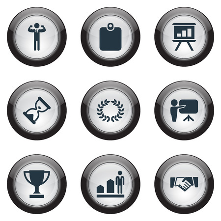 Vector Illustration Set Of Simple Trophy Icons. Elements Deal, Board, Reward And Other Synonyms Development, Hourglass And Champion.