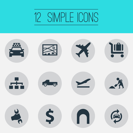 Vector Illustration Set Of Simple Public Icons. Elements Economy, Reconstruction, Auto Service And Other Synonyms Tunnel, Economy And Travel.