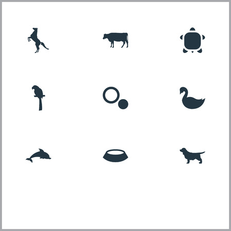 Vector Illustration Set Of Simple Animals Icons. Elements Tortoise, Pet Plate, Hippodrome And Other Synonyms Turtle, Goose And Horse.