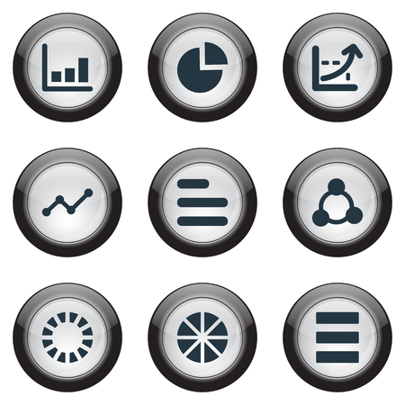 Vector Illustration Set Of Simple Chart Icons. Elements Circle Diagram, Menu, Progress And Other Synonyms Progress, List And Growth. Çizim