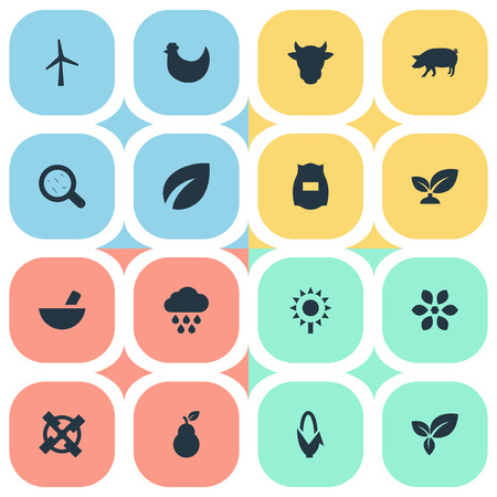 Vector Illustration Set Of Simple Nature Icons. Elements Livestock, Foliage, Bacteria And Other Synonyms Seeds, Botany And Corn.
