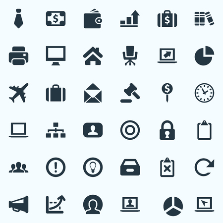 Vector Illustration Set Of Simple Business Icons. Elements Clipboard, Progress, Circle And Other Synonyms Files, Point And Envelope.