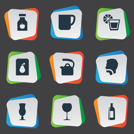 Vector Illustration Set Of Simple Drinks Icons. Elements Hydration, Drug, Juice And Other Synonyms Goblet, Juice And Wineglass.