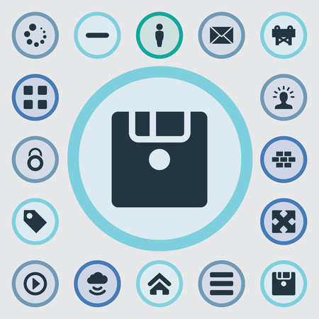 web browser: Vector Illustration Set Of Simple Interface Icons. Elements Diskette, Message, Remove And Other Synonyms House, Play And Customer.