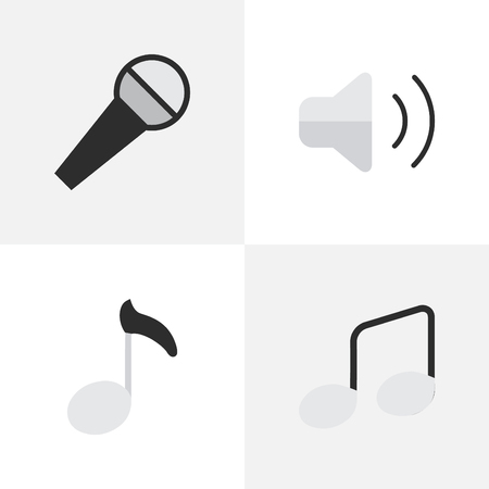 loudness: Vector Illustration Set Of Simple Melody Icons. Elements Loudness, Note, Music Sign And Other Synonyms Volume, Sign And Mike. Illustration