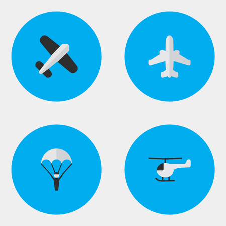 Vector Illustration Set Of Simple Plane Icons. Elements Airliner, Aviation, Copter And Other Synonyms Chopper, Copter And Flying.