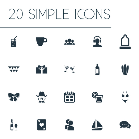 Vector Illustration Set Of Simple Party Icons. Elements Mug, Correspondence, Water Lily And Other Synonyms Beverage, Celebrate And Condom.