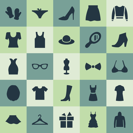 Vector Illustration Set Of Simple Garments Icons. Elements Mannequin, T-Shirt, Skirt And Other Synonyms Hat, Casual And Glass. Illustration