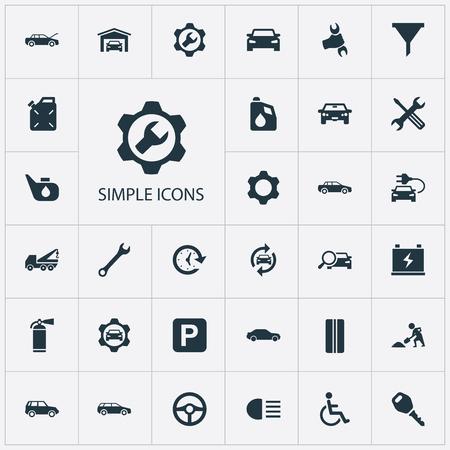 벡터 일러스트 레이 션 간단한 자동차 아이콘의 집합입니다. 요소 잠금, 워크샵, 수리 및 기타 동의어 자동, 소화기 및 세단. 스톡 콘텐츠 - 85337917