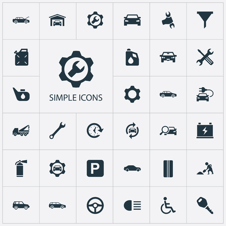 Vector Illustration Set Of Simple Car Icons. Elements Lock, Workshop, Repair And Other Synonyms Auto, Extinguisher And Sedan.