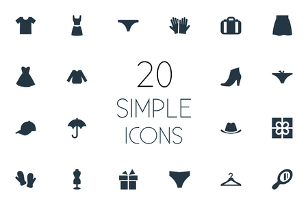 oversize: Vector Illustration Set Of Simple Wardrobe Icons. Elements Parasol, Blouse, Gloves And Other Synonyms Accessory, Sale And Hat.