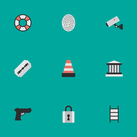 Vector Illustration Set Of Simple Offense Icons. Elements Weapon, Closed, Blade And Other Synonyms Lock, Supervision And Lifesaver.