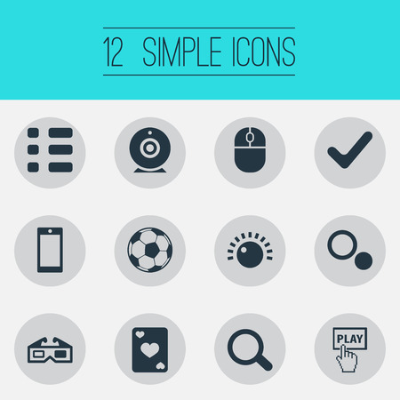 Vector Illustration Set Of Simple Game Icons. Elements Start, Mark, Tasks And Other Synonyms 3D, Tasks And Soccer. Illustration