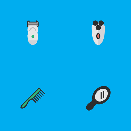 Vector Illustration Set Of Simple Barber Icons. Elements Glass, Electronic, Shaving Machine And Other Synonyms Shaver, Hairbrush And Comb. Illustration