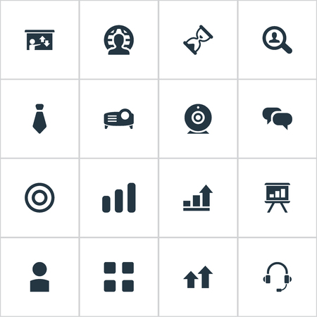 Vector Illustration Set Of Simple Presentation Icons. Elements Canvas, Conversation, Necktie And Other Synonyms Reach, Headphones And Increase.