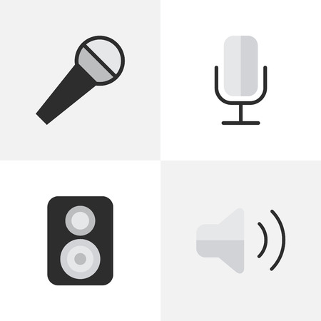 Vector Illustration Set Of Simple Melody Icons. Elements Speaker, Mike, Record And Other Synonyms Mike, Record And Microphone. Illustration