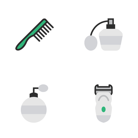 Vector Illustration Set Of Simple Hairdresser Icons. Elements Hairbrush, Electronic, Perfume And Other Synonyms Slavering, Comb And Perfume.
