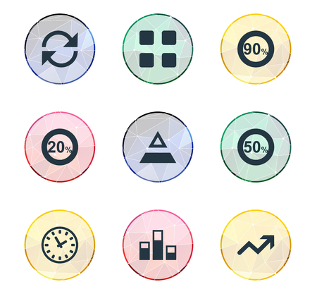 Vector Illustration Set Of Simple Analytics Icons. Elements Refresh, Cube, Ninety And Other Synonyms Clock, Top And Percentage.