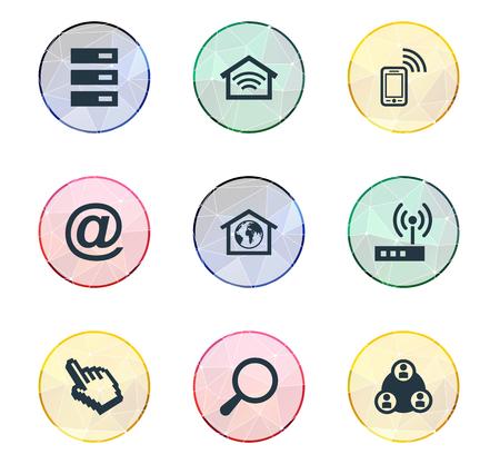 벡터 일러스트 레이 션 간단한 웹 아이콘의 집합입니다. 요소 모바일 연락처, 무선 연결, 라우터 및 기타 동의어 전화, 센터 및 데이터.