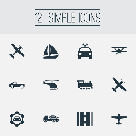 Vector Illustration Set Of Simple Transportation Icons. Elements Jeep, Chopper, Airliner And Other Synonyms Street, Road And Airliner.
