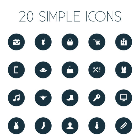 Vector Illustration Set Of Simple Accessories Icons. Elements Monitor, Sarafan, Password And Other Synonyms Human, Telephone And Chapeau. Illustration