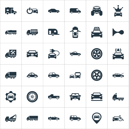 Vector Illustration Set Of Simple Transport Icons. Elements Turtle Transport, Suv, Carting And Other Synonyms Coupe, Offroad And Autocar.
