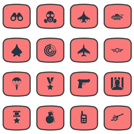 벡터 일러스트 레이 션 간단한 전쟁 아이콘의 집합입니다. 요소 전쟁 비행기, 총, 비전 및 기타 동의어 총, 포병 및 전투.