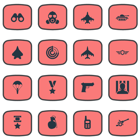 Vector Illustration Set Of Simple War Icons. Elements War-Plane, Gun, Vision And Other Synonyms Gun, Artillery And Battle.