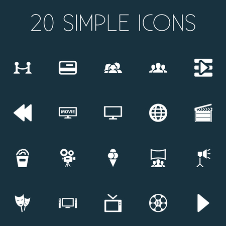 Vector Illustration Set Of Simple Cinema Icons. Elements Television, Begin, Plasma Monitor And Other Synonyms Network, Rearward And Backward. Фото со стока - 85338094