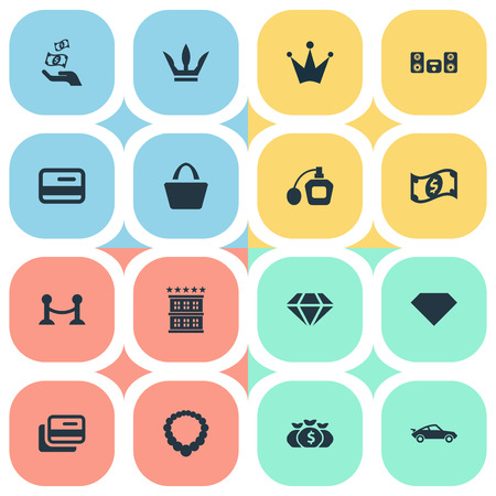 Vector Illustration Set Of Simple Money Icons. Elements Credit, Brilliant, Fence And Other Synonyms Gemstone, Hotel And Money.
