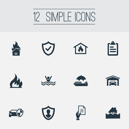 Vector Illustration Set Of Simple Warrant Icons. Elements Heat, Vehicle Assurance, Safe Shipping And Other Synonyms Insurance, Man And Letter.
