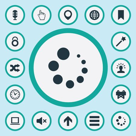 Vector Illustration Set Of Simple UI Icons. Elements World, Flag, Randomize Synonyms Marker, Imagination And Mind.