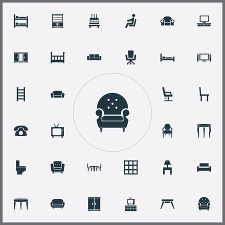 Vector Illustration Set Of Simple Furniture Icons. Elements Divan, Settee, Chair And Other Synonyms Tv, Water And Bedside.
