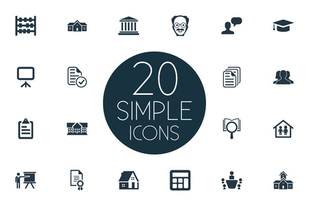 Vector Illustration Set Of Simple Education Icons. Elements Presentation Board, Home, Group And Other Synonyms Property, Courthouse And Kindergarten. Stock Vector - 85337946