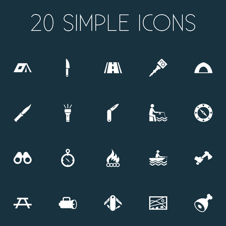 Vector Illustration Set Of Simple Outdoor Icons. Elements Hatchet, Chronometr, Penknife And Other Synonyms Bayonet, Flame And Flashlight.