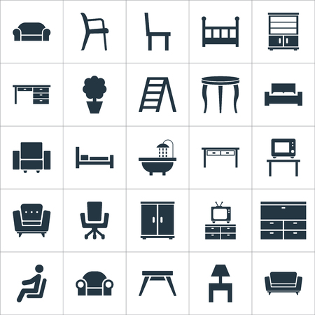 Vector Illustration Set Of Simple Furnishings Icons. Elements Contemporary Design, Crib, Seat And Other Synonyms Chest, Display And Bedside. Illustration