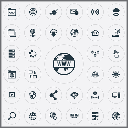 Vector Illustration Set Of Simple Browser Icons. Elements Share, Server Transferring, Laptop And Other Synonyms Spreading, Circle And Pointer. Illusztráció