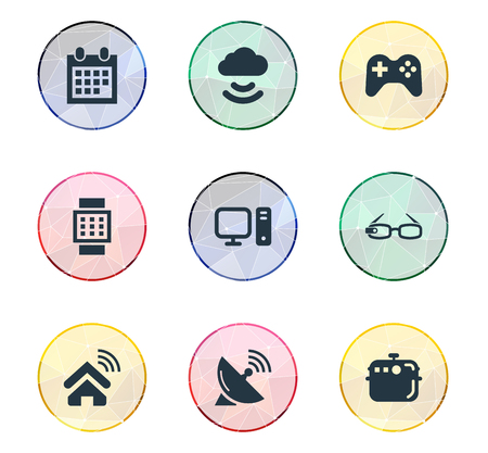 Illustrazione vettoriale Set of Simple Smart Icons. Elementi Wrist Device, Antenna, Storage Acceess e altri sinonimi Smart, Date e Device. Archivio Fotografico - 85337954