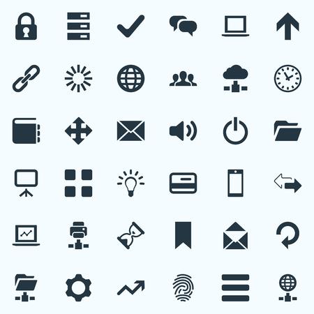 Vector illustratie Set van eenvoudige programmasymbolen. Elements Sand Timer, Printer, Refresh Synoniemen Orb, Printer en Extend.