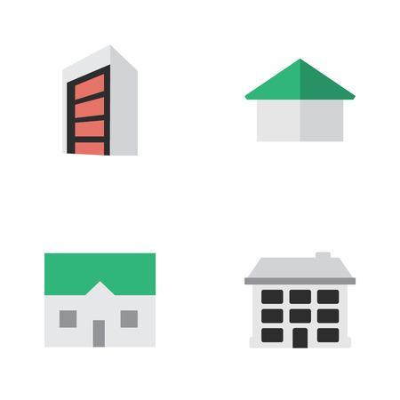 Ilustración vectorial Conjunto de iconos reales simples. Estructura de elementos, arquitectura, casa y otros sinónimos Construcción, edificio y casa. Foto de archivo - 85338104