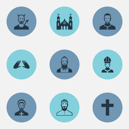 Vector Illustration Set Of Simple Religion Icons. Elements Cleric, Crucifix, Orison And Other Synonyms Christian, Pope And Lucifer.
