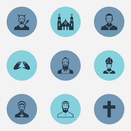 Vectorillustratiereeks Eenvoudige Godsdienstpictogrammen. Elementen Cleric, Crucifix, Orison en andere synoniemen Christian, paus en Lucifer. Stock Illustratie