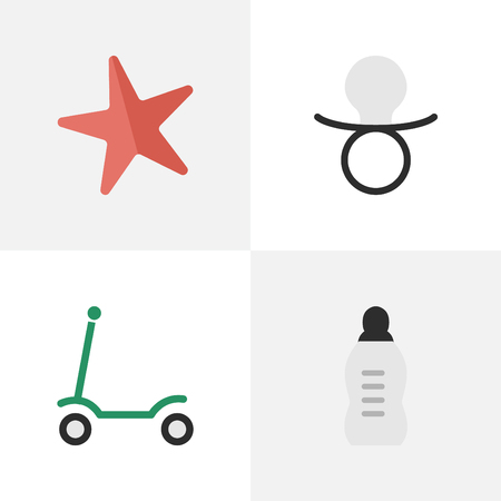 Vector Illustration Set Of Simple Child Icons. Elements Nipple, Toy, Vial And Other Synonyms Nipple, Moped And Baby.