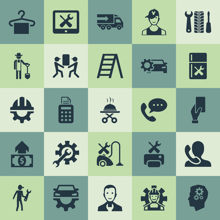 Vector Illustration Set Of Simple Support Icons. Elements Technical Support, Pos Terminal, Car Workshop And Other Synonyms Terminal, Hanger And Line.